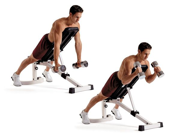 Decline Dumbbell Curl workout