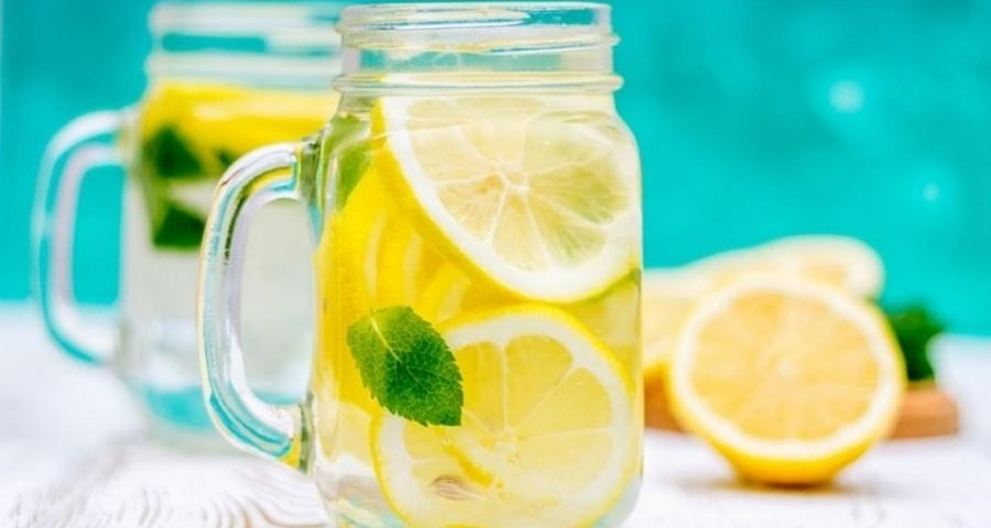 Lemon Water in Transparent Jar